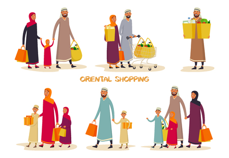 Set of isolated eastern buyers at supermarket. Oriental man and woman shopping, father and mother with cart and children. Parents at shop or store, mall. Shopper and shopping, buyer and grocery theme