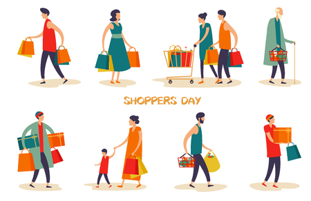 Set of isolated cartoon people or family at shopping center. Man and woman at supermarket, grandfather with grocery basket, kid at shop and buyer at store. Retail and buyer, consumer theme