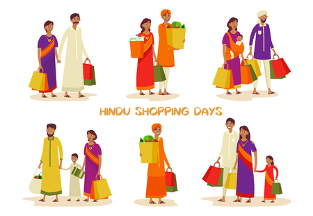 Set of isolated Indian people or person at mall shopping. Man and woman with pack at supermarket. Father and mother, kid or child with grocery. Hindu culture, shop and store, buyer theme