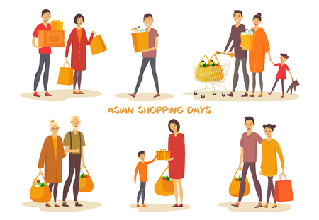 Asiatic people or asian man, woman at shopping
