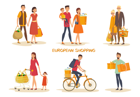 Set of isolated european man and woman at supermarket doing shopping. Shop and store, mall buyers. Family with children, grandmother and grandfather with grocery. Shopping and retail, people theme Ilustração