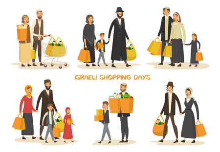 Israel family at shop or Hebrew couples at mall