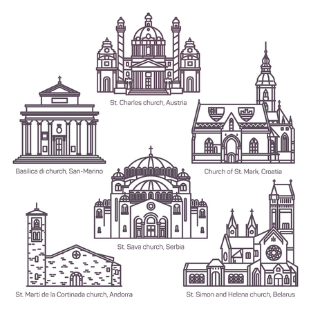 Set of isolated religion churches in thin line Иллюстрация