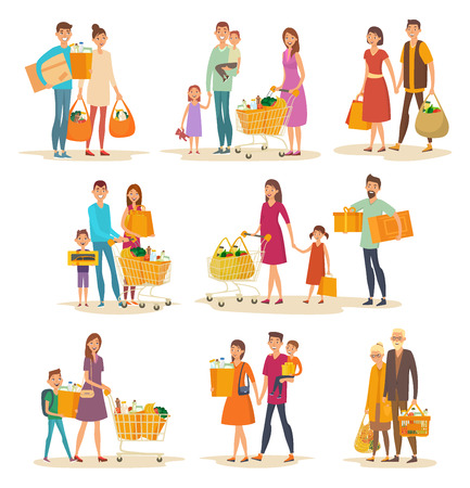 Set of isolated people family at supermarket with trolley and grocery. Father with food packs and mother with trolley, child or kid. Grandmother and grandfather with vegetables.Shop and store,shopping Ilustração