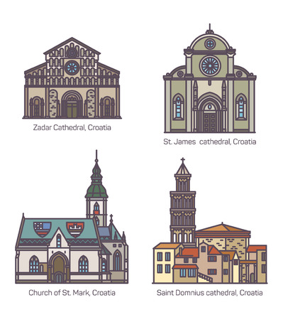 Set of isolated Croatian or Croatia religion buildings. Zadar and Saint James, st. Domnius cathedral and saint Mark church. Historical and medieval sightseeing landmarks for tourist.