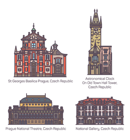 Czech republic famous architecture buildings. Saint George basilica and Prague National theatre or theater, National Gallery and Old Town Hall tower with Astronomical Clock. Sightseeing, landmark Ilustração
