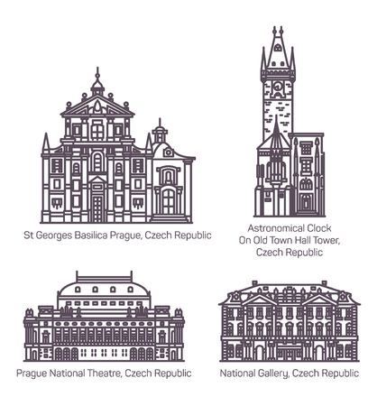Set of isolated Czech republic landmarks in thin line. Prague National theater or theatre, National Gallery and Old Town Hall tower with Astronomical Clock, Saint George basilica. Architecture