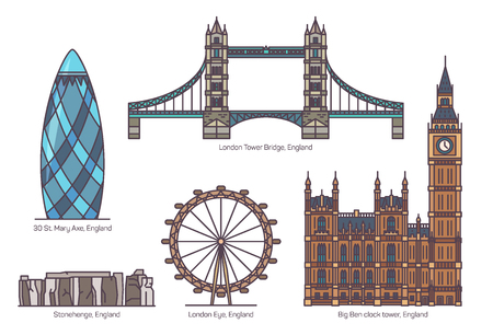UK or England famous architecture landmarks. 30 St. Mary Axe or The Gherkin, London Eye and Tower Bridge, English Stonehenge and Big Ben Clock Tower. Set of isolated sightseeing tourist British places