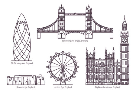 Insieme di edifici famosi isolati di Gran Bretagna, Regno Unito o Inghilterra. London Tower Bridge o Eye, inglese The Gherkin o 30 St. Mary Axe, Stonehenge e Big Ben Clock Tower. Visite turistiche e architettura