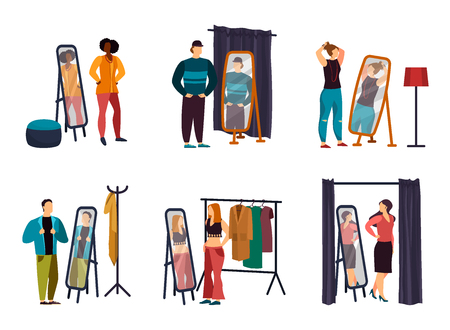 Cartoon people using wardrobe at shop or store. Man and woman in cloakroom or dressing, hat-check room, checkroom. Male wearing jacket in front of mirror or lady near cupboard, furniture.Fashion theme