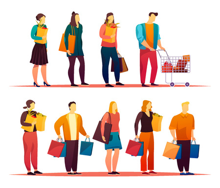 Market or mall with people standing in line. Queue with man and woman at shop or store, supermarket. Lady with pack and male with trolley or cart. Cartoon people. Customer and grocery theme