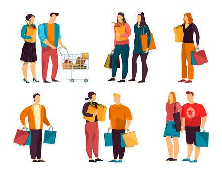 Set of isolated flat and simple people with grocery. Family with trolley, man and woman with paper packs. Cartoon male and female at shop or store, mall. Person and customer, supermarket theme Ilustração