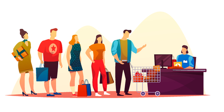 People at waiting at market queue. Man and woman at shop or store line. Cashier or reception at supermarket doing buyer service. Customer with grocery and food standing and doing payment. Wait, people Ilustração