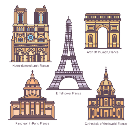 Set of isolated French sightseeing landmarks. Paris Eiffel tower and Panteon, Notre-Dame church and Arch of Triumph, Invalids cathedral or les invalides. Architecture, famous tourism places in France Banco de Imagens - 123839527