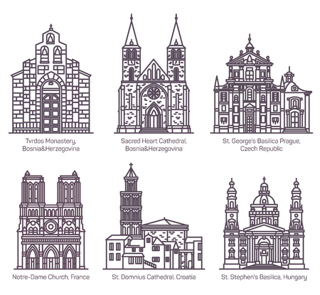 Set of isolated european cathedral and church in thin line. Tvrdos monastery, Sacred heart and St. Domnius, Notre-Dame, St. Stephen and George basilica. Czech, France, Croatia, Hungary architecture Illustration