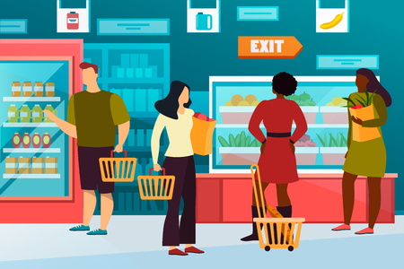 Cartoon people at grocery shop or healthy food store. Simple man with basket of fruit and flat woman with pack of vegetables. Buyer at mall or market, vegan counter with dairy. Showcase, trade theme Banco de Imagens - 123511467