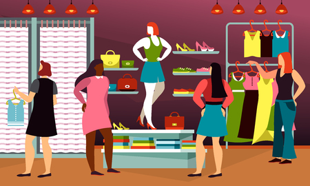 Clothing shop with cartoon people or cloth store with dressing room and female mannequin or manikin model, shoes and costumes. Boutique for lady apparel, interior of fashion mall with checkroom. Dress Ilustração