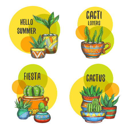 Set of isolated labels of cactus, succulent plants