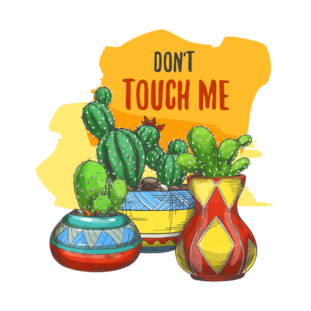 Banner with cactus in pots or sticker with cacti, sign with desert succulent plants. Exotic peyote with flowers or cactaceae blossom. Mexican nature. Green watercolor badge. Gardening and flora theme Banco de Imagens - 122819574