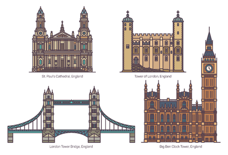 UK or England famous architecture landmarks. Tower of London, Tower Bridge, Big Ben Clock Tower and Cathedral of St. Paul. Set of isolated sightseeing tourist British places