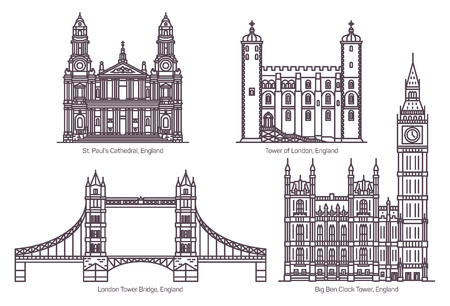 Set of isolated Great Britain, UK or England famous buildings. Tower of London, Tower Bridge, Big Ben Clock Tower and Cathedral of St. Paul. Sighseeing and architecture