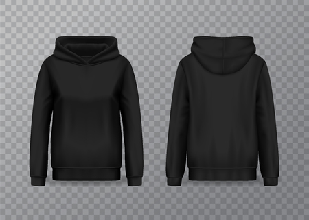 Isolated women hoody with long sleeves. Front and back of woman hoodie, female sweatshirt mockup, blank or empty pullover jacket for lady. Realistic and 3d clothing on transparent. Cloth, wear theme