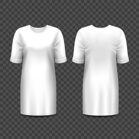 Realistic mockup of women dress or gown isolated on transparent. Blank or empty template of girl skirt or shirt. 3d long frock for lady, elegant casual wear. Suit mock up for boutique. Fashion Vector Illustration