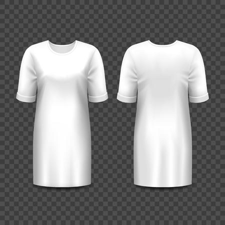 Realistisches Modell von Frauenkleidern oder -kleidern isoliert auf transparent. Leere oder leere Vorlage für Mädchenrock oder -hemd. 3d langes Kleid für Dame, elegante Freizeitkleidung. Anzug Mock-up für Boutique. Mode Vektorgrafik