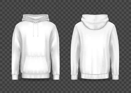 White men 3d hoodie on transparent. Isolated front and back of men hoody with muff or kangaroo pocket and drawstrings. Sweatshirt with hood or sweater top cloth. Blank template for clothing design