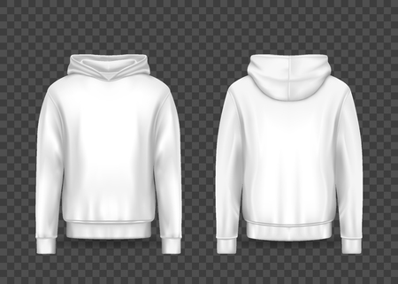 White 3d man hoodie or realistic men hoody mockup. Empty template for print on male sweatshirt. Isolated sweater or jacket on transparent. Fabric clothing or dress, apparel. Wear and cloth theme Ilustração
