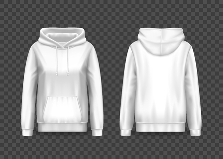 3d woman pullover hoodie or front and back of women hoody. Realistic sweatshirt with hood isolated on transparent. Empty or blank sweater with kangaroo or muff pocket. Clothing design and fashion