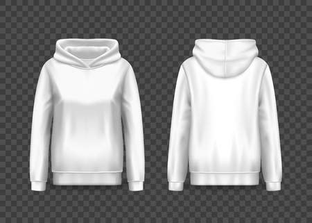 Realistic white women hoody or woman pullover hoodie with long sleeves. 3d sweater with hood or front and back of blank sweatshirt on transparent. Mockup of cloth or mock-up of apparel, hooded wear Ilustração