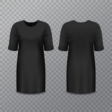 Realistic black woman dress or long lady shirt template. Isolated girl gown on transparent. Women beautiful and elegant suit. Casual wear mockup. Frock advertising for boutique. Fashion theme Banco de Imagens - 122400494