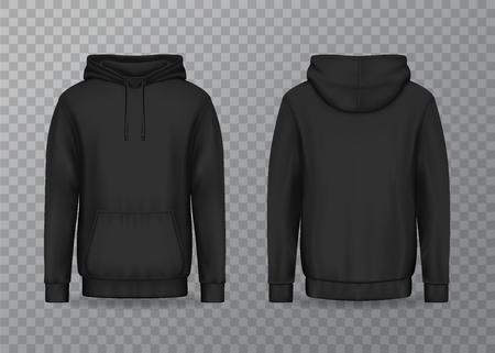 Isolated back and front man hoody on transparent. Men black hoodie with hood and kangaroo or muff pocket, 3d male jacket or realistic clothing. Mockup of uniform. Cloth and textile, wear and fashion Banco de Imagens - 122400495