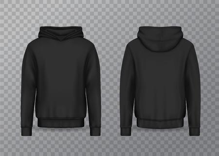 Realistische herenhoodie of zwarte 3D-hoody. Leeg of leeg mannelijk sweatshirt dat op transparant wordt geïsoleerd. Trui of jas mockup. Kleding- of kledingontwerp voor reclame, textielobject. Mode en slijtage