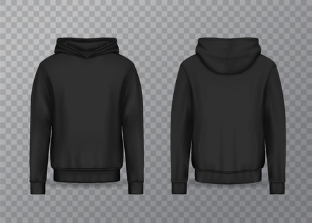 Realistic men hoodie or black 3d hoody. Blank or empty male sweatshirt isolated on transparent. Sweater or jacket mockup. Apparel or clothing design for advertising, textile object. Fashion and wear