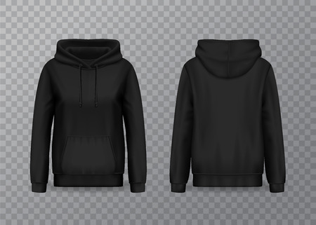 Mockup of women hoody or 3d pullover hoodie for woman. Realistic isolated sweatshirt with muff or kangaroo pocket and drawstrings. Jacket with hood for sport. Front and back of clothing. Fashion theme