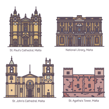 Set of isolated Maltese famous landmarks or Malta historical buildings. Saint Paul and St. John cathedral, National library and Red or Agatha, Mellieha Fort Tower. Sightseeing, historical architecture