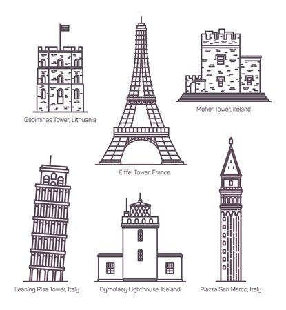 European landmarks with towers in thin line