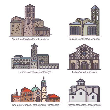 Set of isolated churches of Europe in color