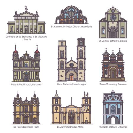 Set of isolated color churches of Europe Ilustração