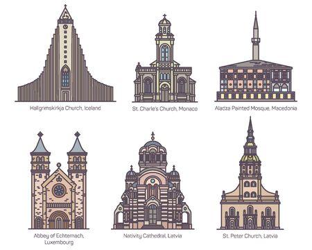 Set of European religion center in thin line Ilustração