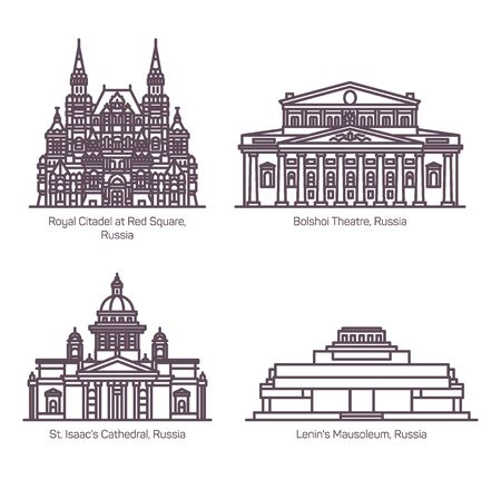 Monuments of Russian Architecture in thin line. Royal Citadel at Red Square,Bolshoi Theater, Saint Isaac Cathedral or Isaakievskiy Sobor, Mausoleum of Lenin.Architecture of Moscow and Saint Petersburg