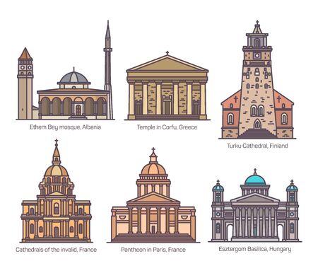 Set of religion, sanctuary buildings in color Banco de Imagens - 127638912
