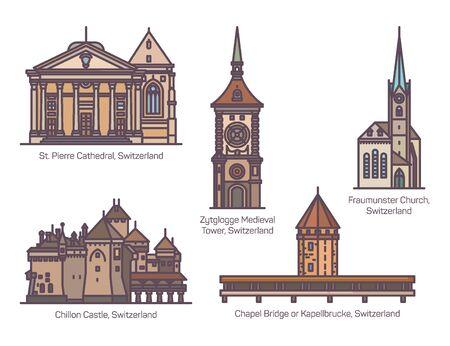 Set of Switzerland architecture landmarks in line