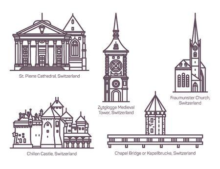 Set of Switzerland architecture buildings in line