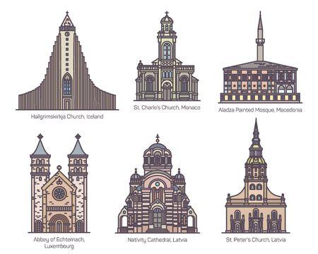 European religion center set in line, color
