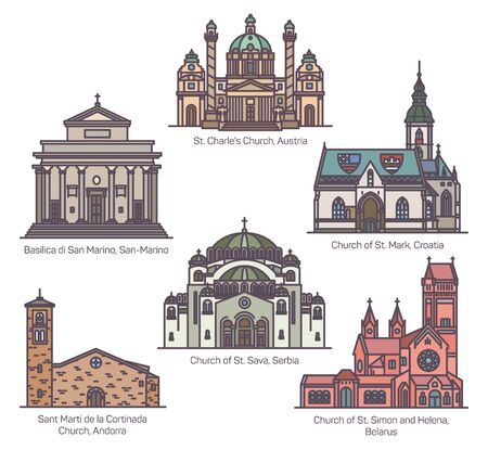 Set of Religion churches in thin line