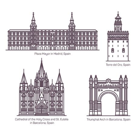 Thin line style of Spain sightseeing architecture landmarks. Cathedral of Holy Cross or St Eulalia in Barcelona, Main Square or Plaza Mayor in Madrid, Torre del Oro, Triumphal Arch or Arc. Spanish