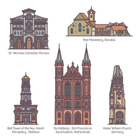 Set of isolated churches of Europe. Religion  イラスト・ベクター素材